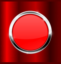 Red button with metal frame on red background vector