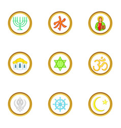 Religion icons set cartoon style vector