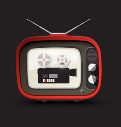 Retro tv with movie film camera retro devices vector