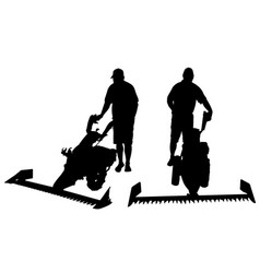 set of different people with mowers vector image