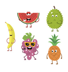 set of funny characters from fruit 2 vector image vector image