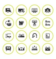 Set round icons of camper caravan trailer vector image vector image