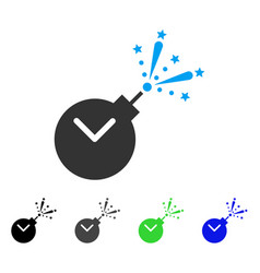 Time fireworks charge flat icon vector