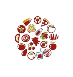 Tomato icons in circle vector