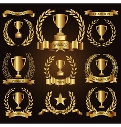 Trophy awards golden badges and labels collection vector image vector image