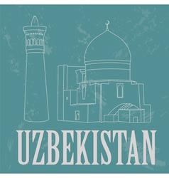 Uzbekistan landmarks retro styled image vector