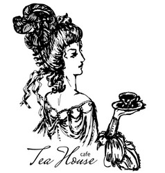 Vintage lady engraving vector