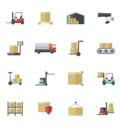 Warehouse icons flat set vector