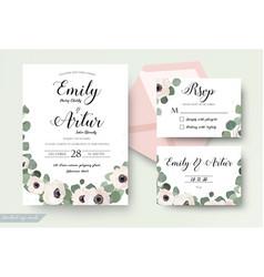 Wedding invitation floral rsvp thank you card set vector