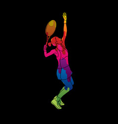 woman tennis player sport woman action serve vector image vector image