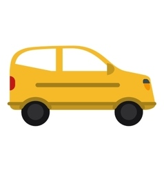 Yellow hatchback car vehicle side view vector
