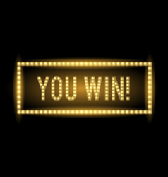 you win realistic glowing light sign vector image vector image