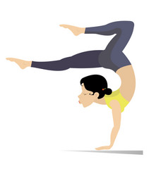 young woman with lithe figure doing sport or yoga vector image