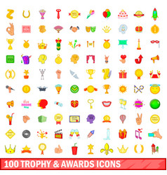 100 trophy and awards icons set cartoon style vector