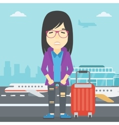 Woman suffering from fear of flying vector