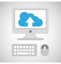 Computer network desktop cloud upward vector