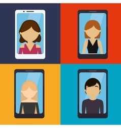 Set ed people smartphone communication vector