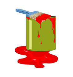 bucket red paint with dripping paintbrush vector image