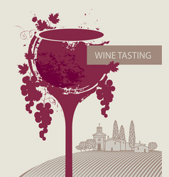 Wine tasting menu with glass grapes and landscape vector