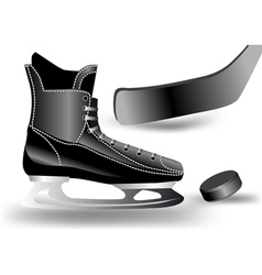 Hockey puck stick and skate vector