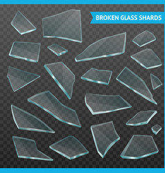 Glass fragments realistic dark transparent set vector