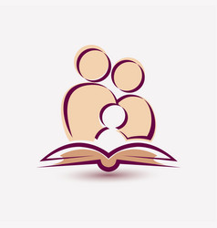 Family reading a book simple icon stylized vector