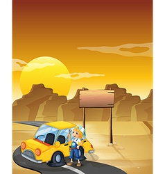 A girl fixing the yellow car at the desert with an vector