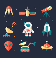 Flat outer space elements vector