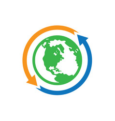 world earth arrow logo image vector image