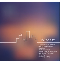 Cityscape line graphic on blurred background vector