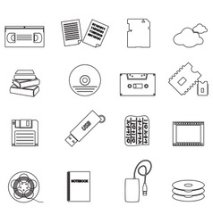 Data storage media black simple outline icons vector
