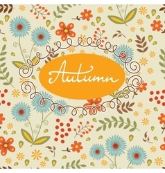 Beautiful autumn card with seamless background and vector