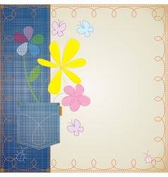Jean embroidery frame vector