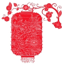 Chinese Lantern on tree vector image