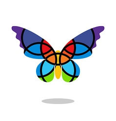 Butterfly mosaic isolated with drop shadow white vector