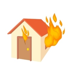 House is on fire icon cartoon style vector