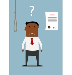 Bancrupt businessman thinking about debt noose vector image