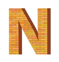 brick letter N vector image vector image