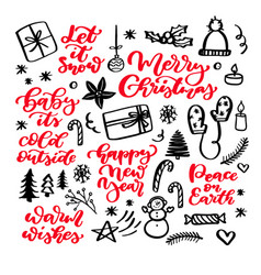Christmas doodles and holiday lettering hand vector