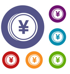 Coin yen icons set vector