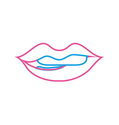 Color line mouth with lipstick and bite inferior vector