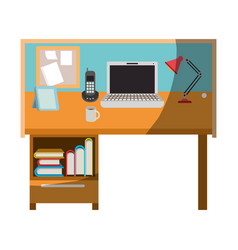 Colorful graphic of workplace home office interior vector