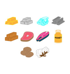 commodities icon set vector image vector image