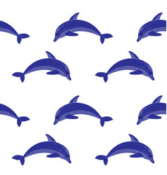 Dolphin embroidery seamless pattern vector