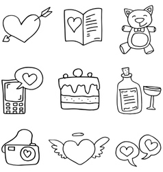 Doodle of love theme element vector