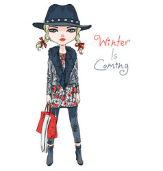 fashion girl in winter clothes vector image
