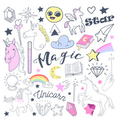 Freehand kids magical doodle with unicorn vector