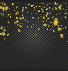 Gold confetti falling and ribbons on black vector