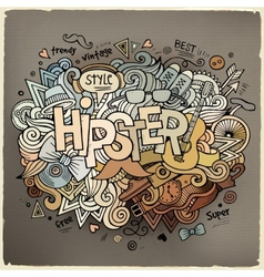 Hipster hand lettering and doodles elements vector image