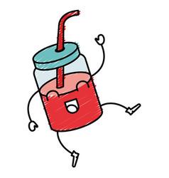 Jar with juice fruit kawaii character vector